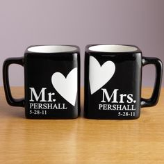 Mr. and Mrs. Black Mug Set