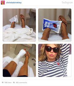 """Aie chiwawa!!! I broke my foot!"" writes Christie Brinkley. #christiebrinkley"