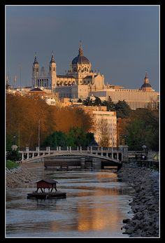 Catedral de la Almudena, Madrid, Spain. This picture shows the beautiful scenery Madrid has- a river flows through it.