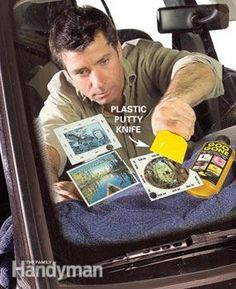 Old park stickers can become a visual hazard as they accumulate. Remove them with Goo Gone and a putty knife: