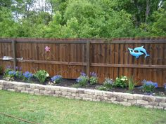 I think I'd like something like this Raised Flower Bed along my fence somewhere down the road. rais flower, raised garden beds along fence, privacy fences, front yards, hous, backyard, railroad ties, raised flower bed along fence, raised flower beds