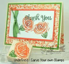 Undefined carved rose stamp carved by Patty Bennett