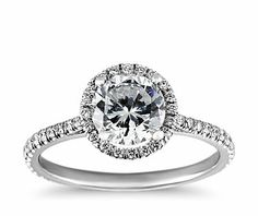 Floating Halo Diamond Engagement Ring in 14k White Gold from Blue Nile