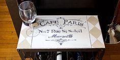 Stenciled wine rack