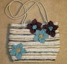 Handwoven purse with weavette flowers purs