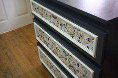 Total DIY dresser makeover with a fabric of your choice. So cute!! How-to included. :)