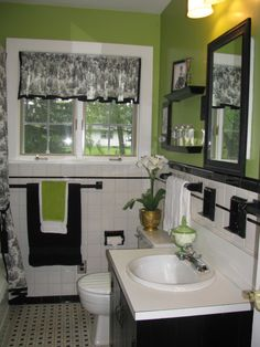 From 80's Pink to Retro Cool!, Check out the before photos of my mother's bathroom when she bought her new home. Something obviously had to be done! The budget did not allow a for a total remodel. Besides, Mom loved the black and white tile. A little paint, new shower curtain and valance (Thanks Marygrace!), and a couple of up-to-date accessories and all signs of the 1980's have been erased. , This bath could really use a total overhaul, but on a budget, I think this looks great! What are your t