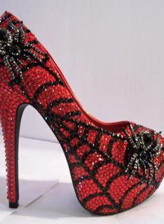 RHINESTONE OPEN TOE SPIDER HEELS (CHARLOTTES WEB), Shoes, Rhinestones Red Black Spider Web, Chic