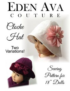 $3.99 The cloche hat is a fitted, bell-shaped hat for women that was invented in 1908 by milliner Caroline Reboux.  It became very  popular during... cloch hat, hat sew, hat patterns, american girl, cloche hats, sewing patterns