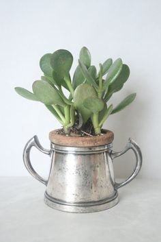 Happy Birthday to me!  Vintage Planter - Silver Goblet, Desk, Plant - 2pc