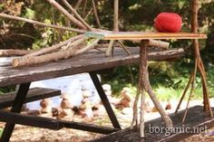 Tree branch table stand idea