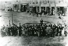 Volunteer Fire Department posing at Campau Square - c. 1860