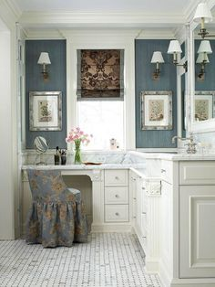 wall colors, makeup vanities, chairs, bathroom vanities, dressings, bathrooms, master baths, blues, marbl