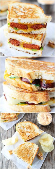 Chorizo Grilled Cheese Sandwich with Chipotle Mayo on twopeasandtheirpod.com You will love this kicked up version of the traditional grilled cheese!