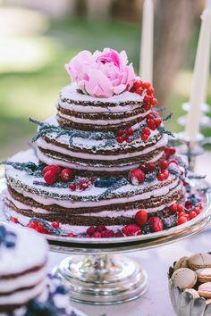 Beautiful chocolate naked wedding cake!