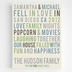 personalized family story wall art from RedEnvelope.com