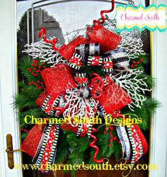 Christmas Evergreen red/white/black Ribbon Wreath by CharmedSouth  Whimsical Christmas Wreath www.charmedsouth.etsy.com