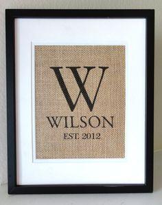 burlap crafts for weddings | Monogram Burlap Art, Burlap Sign, Burlap Print, Wedding, Anniversary ...
