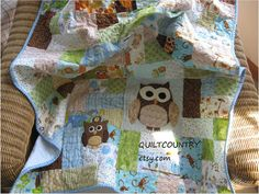 The little scrappy owl quilt, baby boy blue quilt, baby boy blanket, owl nursery decor, boys crib bedding, Modern baby quilt, ready to ship SOLD