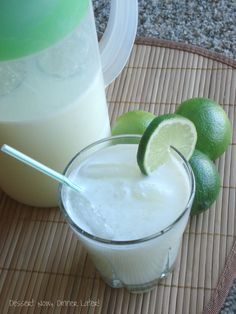 Brazilian Lemonade.  6 cups cold water, 1 cup sugar,  4 limes and 6 Tbsp sweetened condensed milk.