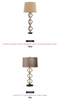 REGINA ANDREW TRIPLE SEGMENT IRON PATTERN MAKERS LAMP $323 - vs - VALUE CITY FURNITURE MIA TABLE LAMP $80
