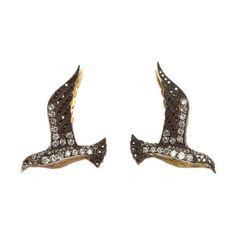Sevan Bicakci Black & White Diamond Bird Earrings at Barneys.com