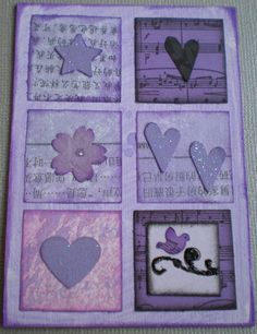 paper inchies on purple card