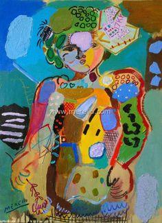 Arte contemporaneo Español-Spanish Modern Art-Art Espagnol Contemporaine-Merello.-Niña con lazo y flor (73x54 cm) mix media on canvasBrazilian Modern Art Mark Swiiter http://viajerosbrasilperublognoticias.blogspot.com.br