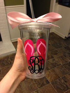 Clear monogrammed double wall 16 oz tumbler vinyl personalized cup with straw on Etsy, $10.99