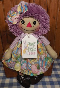 Another cute Raggedy Ann from Cathy Mullins in a Handmade Button Eye EASTER Doll w PURPLE Hair in Easter EGG Dress rag doll