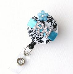Custom Ocean RN Blossom Bling  Designer Name Badge by BadgeBlooms, $18.00
