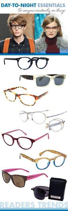 Day-to-Night Essentials: Bold color blocking and quintessential keyhole bridges for multi-faceted style, convenient foldable frames, wearable dapper round and wayfarer silhouettes