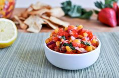 Strawberry Basil Mango Salsa...need I say more? strawberri mango, strawberries, mango basil, recip, mango salsa, basil salsa