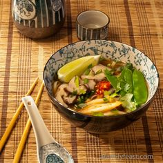 Asian Noodle Soup - This is a fun idea for a 'make your own' Asian Noodle Soup.  Great (and different) idea for a dinner party!