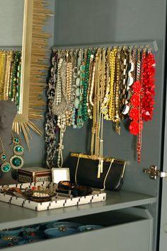 DIY Necklace Hanger necklace storage, jewelry hanger, statement necklaces, diy necklace, diy jewelry, necklace hanger, necklac hanger, necklace holder, jewelry organization