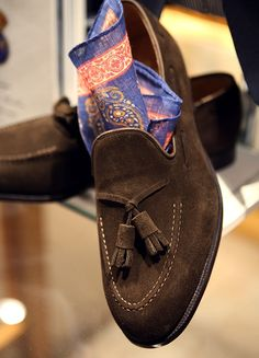 Men's Brown Suede Loafers with Tassels. Men's Spring Summer Fashion.