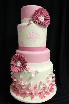 Pink Paper Flower Cake