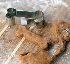 Pumpkin + Peanut Butter Puppy Treats...easy peasy, basic ingrediants (whole wheat flour can be substituted with another type of flour for dogs allergic to ww), and not from China!