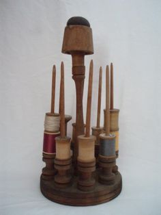 Antique wood pincushion thread spool holder Sewing