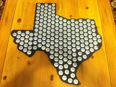 State of Texas bottle cap display holder, Holds 184 bottle caps FREE shipping. bottle caps, craft, texas, beer caps, cap texa, bottles, bottl cap, cap display, california beer