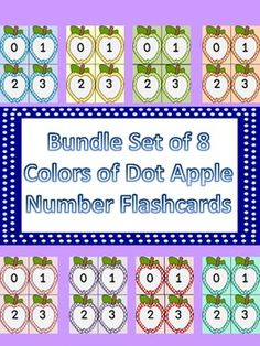 Here is a large bundle of 8 different color number flashcards with numbers 0-100. The bundle includes my dotted apple number flashcards in colors bright blue, golden yellow, lime green, orange, pink, purple, red, and turquoise. There is a color background card for each number as well as a white background card for each number to save on ink or for if you would like to cut the apples out.
