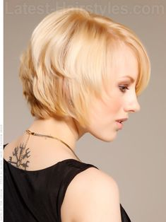 Sexy and Sweet Blonde Layered Bob Side View