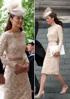 Kate 2012 Dresses Nude McQueen Jubilee Church Service UK Press Association UK Armed Forces Facebook