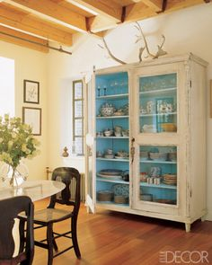 Gorgeous back-painted cupboard. #diy #refurbish dining rooms, blue interiors, dine room, elle decor, china cabinets, armoir, linen cupboard, paint, kitchen