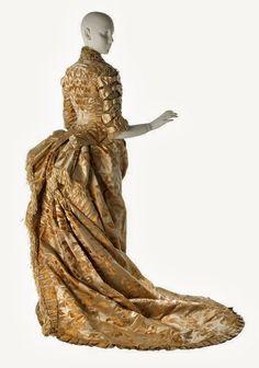 WORTH WEDDING GOWN, C.1878 Satin damask wedding gown by Maison Worth, 1878 • Worn by Annie Schermerhorn • Museum of the City of New York, Gift of Miss Fannie M. Cottenet, 32.249A-B