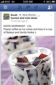 Bailey's,vanilla vodka,& coffee ice cubed
