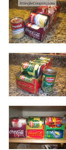Check out this FREE way to organize the canned food in your stockpile! My panrty has high shelves, the cans always fall when i stack them 4 high, but this would solve that, stack the soda boxes on eachother. under bed storage.  Add a little duct tape for durability and cuteness...
