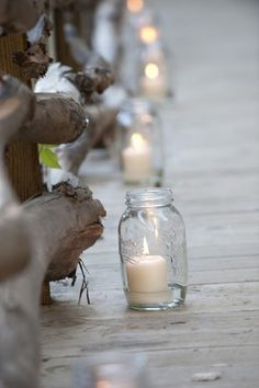 Mason jars with candles to light a path