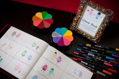 this is a variation of the fingerprint tree guest book or the wedding balloon guest book and it is super adorable. Little couple finger prints. Cartooning encouraged, how cute!