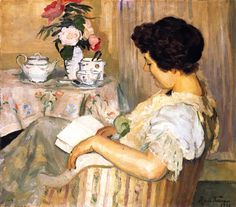 ✉ Biblio Beauties ✉ paintings of women reading letters and books - Alice Reading beside a Cup of Tea   Roger de la Fresnaye